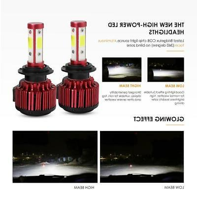 4 Sides CREE H7 2400W Headlight Kit High or Light Bulb 6000K HID