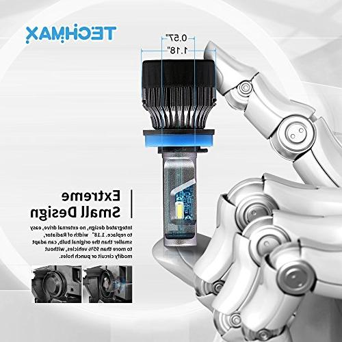 TECHMAX H11 Headlight Bulbs,60W 10000Lm 4700Lux 6500K Cool White Extremely Bright 30mm Heatsink Base CREE Conversion
